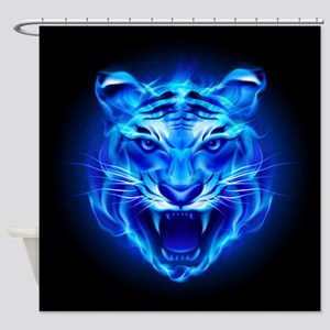 Blue Fire Tiger Face Shower Curtain