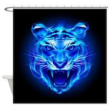 Blue Fire Tiger Face Shower Curtain