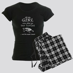 Turtle t-shirt- All this gir Women's Dark Pajamas