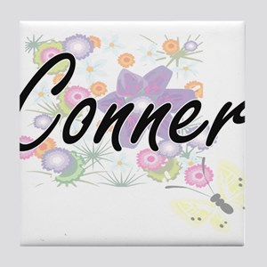 Conner surname artistic design with F Tile Coaster