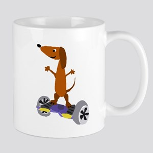 Funny Dachshund on Hoverboard Mugs