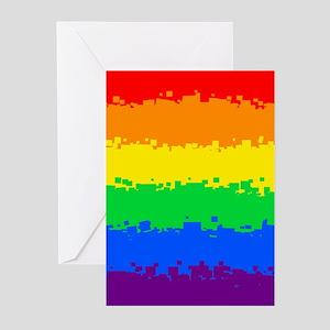 Gay Pride Flag- 8 Bit! Greeting Cards