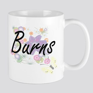 Burns surname artistic design with Flowers Mugs