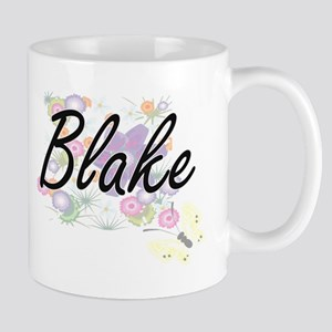 Blake surname artistic design with Flowers Mugs