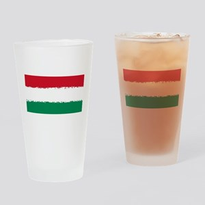 8 bit flag of Hungary Drinking Glass