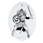 Viking Warrior Oval Ornament