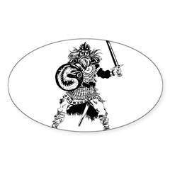 Viking Warrior Sticker (Oval)