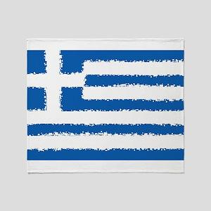 8 bit flag of Greece Throw Blanket