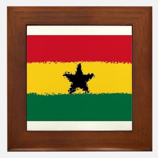 8 bit flag of Ghana Framed Tile
