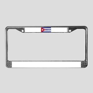 Cuba in 8 bit License Plate Frame