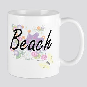 Beach surname artistic design with Flowers Mugs
