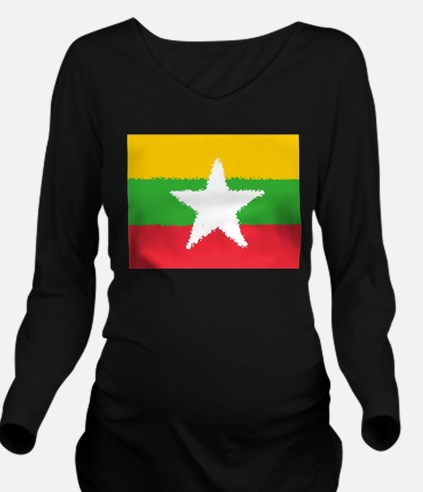 Burma in 8 bit Long Sleeve Maternity T-Shirt