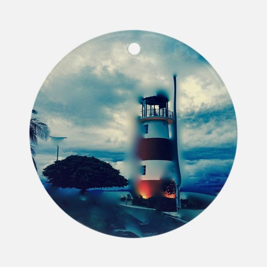 Cute Light house Round Ornament