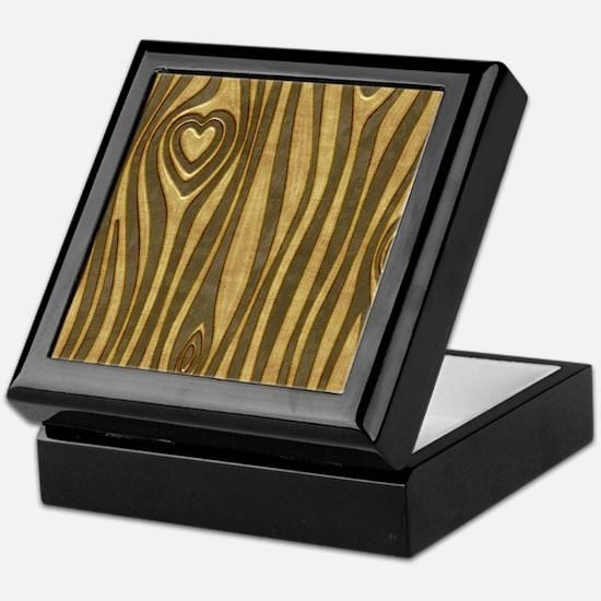Golden Wood Grain Heart Keepsake Box