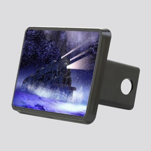 Snowy Night Train Rectangular Hitch Cover