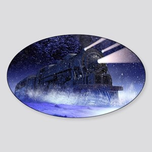 Snowy Night Train Sticker (Oval)