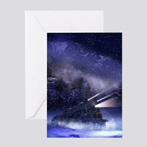 Snowy Night Train Greeting Card