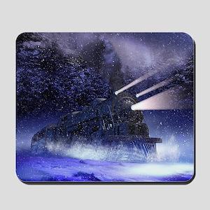 Snowy Night Train Mousepad