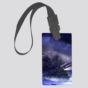 Snowy Night Train Large Luggage Tag