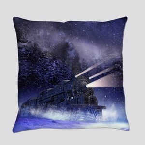 Snowy Night Train Everyday Pillow