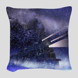 Snowy Night Train Woven Throw Pillow