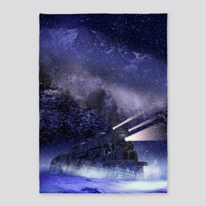 Snowy Night Train 5'x7'Area Rug