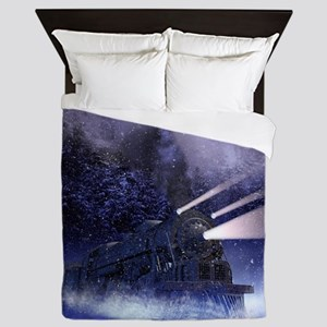 Snowy Night Train Queen Duvet