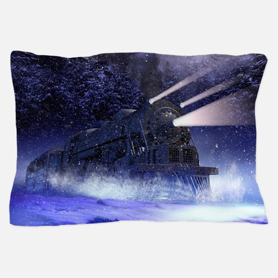 Snowy Night Train Pillow Case