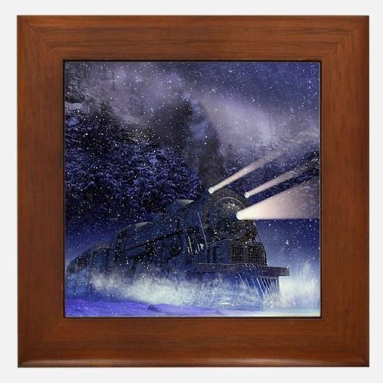 Snowy Night Train Framed Tile
