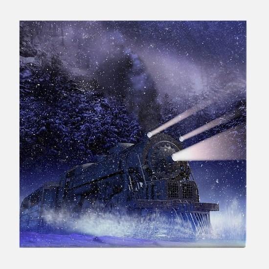 Snowy Night Train Tile Coaster