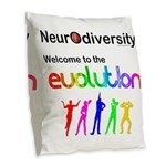 Neurodiversity Evolution Burlap Throw Pillow