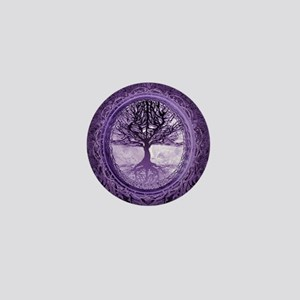 Tree of Life in Purple Mini Button