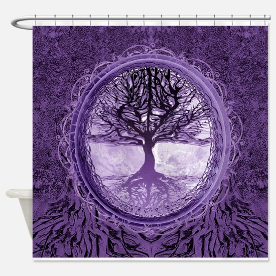 Tree of Life in Purple Shower Curtain