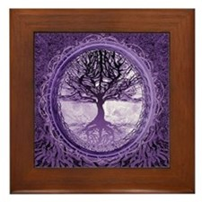 Tree of Life in Purple Framed Tile