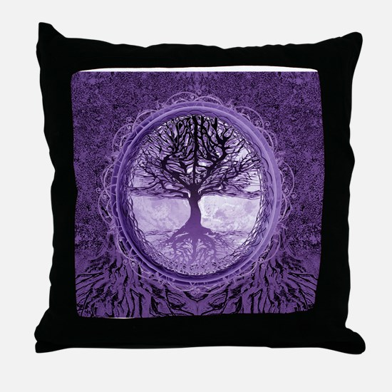 Tree of Life in Purple Throw Pillow
