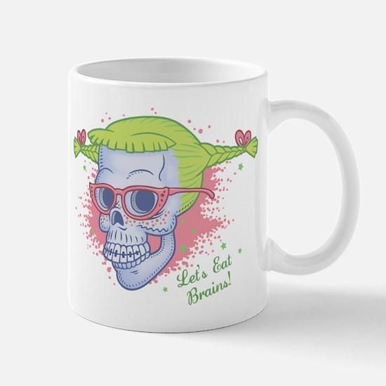 Nerd Girl Zombie Skull Mug