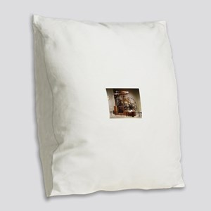 Steam Engine Burlap Throw Pillow