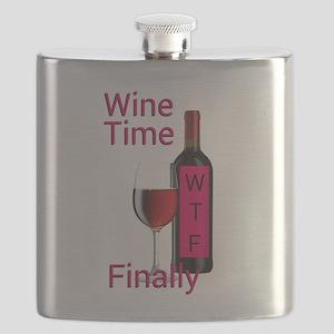 Wine Time Finally Flask