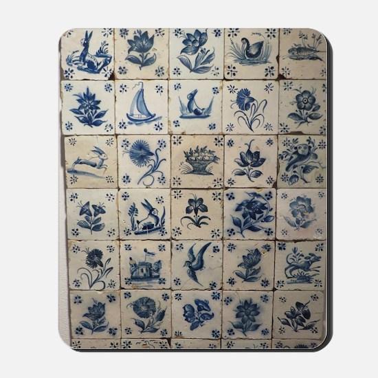 Antique Tile Art Grid Mousepad