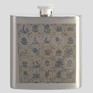 Antique Tile Art Grid Flask