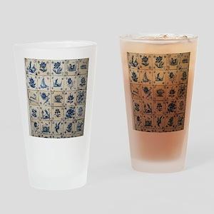 Antique Tile Art Grid Drinking Glass