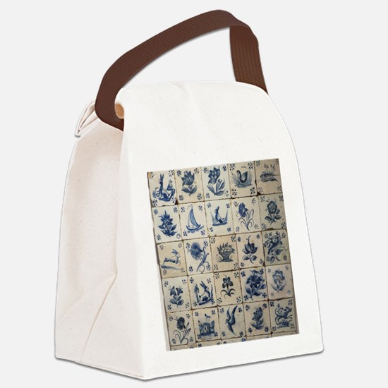 Antique Tile Art Grid Canvas Lunch Bag