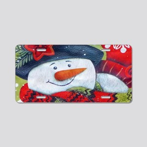 Snowman with Scarf Aluminum License Plate