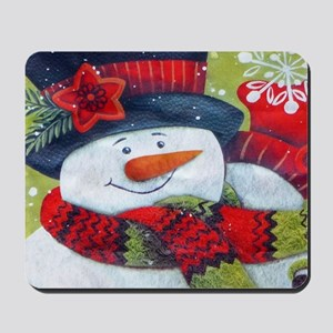 Snowman with Scarf Mousepad