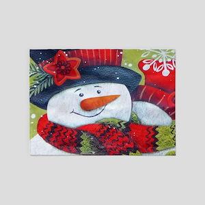 Snowman with Scarf 5'x7'Area Rug