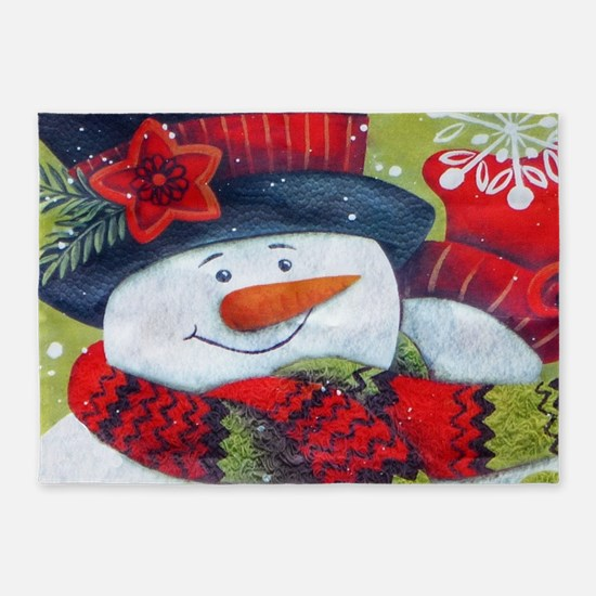 Snowman with Scarf 5'x7'Area Rug