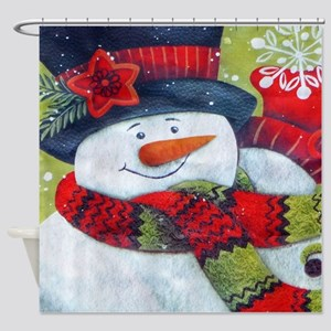 Snowman with Scarf Shower Curtain