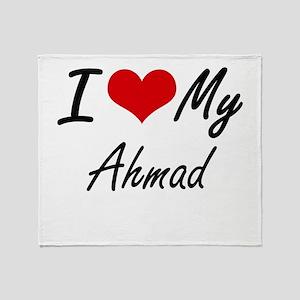 I Love My Ahmad Throw Blanket