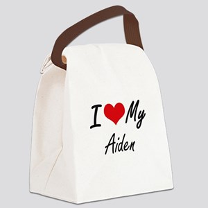 I Love My Aiden Canvas Lunch Bag