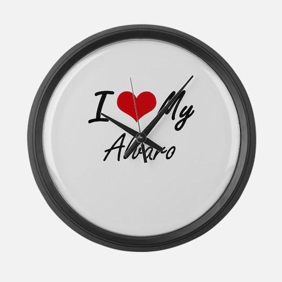 I Love My Alvaro Large Wall Clock
